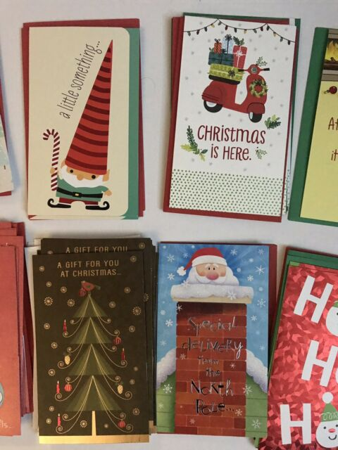 lot of 41 new christmas greeting cards with money holder