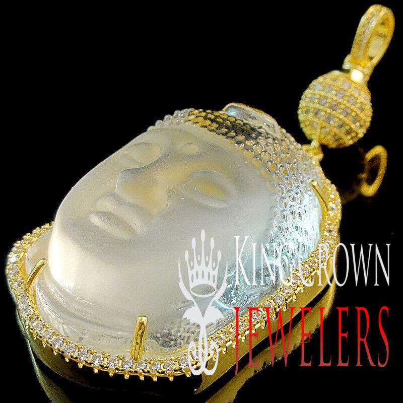 Crystal Clear 10K Yellow gold Finish Simu Diamond Buddha Buddhist Charm Pendant