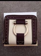 New French Designer LANCEL Leather Wallet - Beige with Brown Trim
