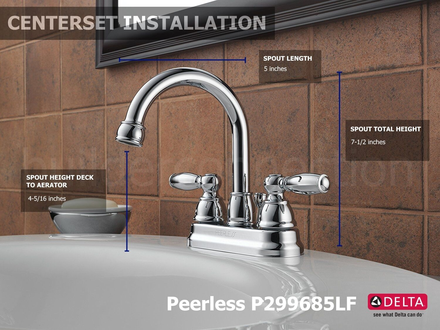 Peerless P299685LF Two Handle Centerset Lavatory Faucet With Drain ...