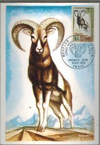 1969-FDC-CP-1-JOUR-ANIMAUX-SAUVAGES-MOUFLON-OBL-PARIS-TIMBRE-Yt-1613