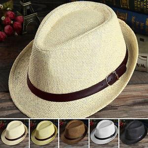 Details about New Mens Women Beach Hat Trilby Sun Jazz Panama Tropical Cap  Wide Brim Straw Hat ce17f59e794