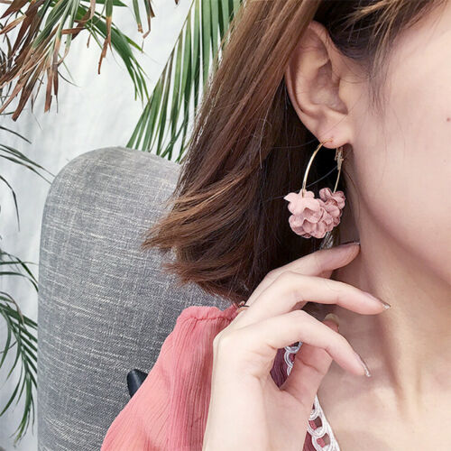 Bohemian Fabric Flower Long Tassel Drop Dangle Women Ear Studs Earrings /'JewelAS