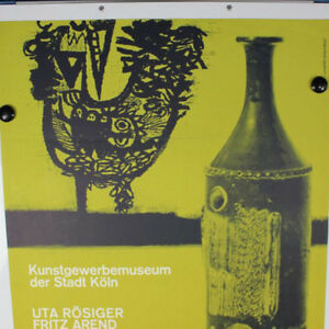 VTG-Gilbert-Portanier-Keramik-altes-Plakat-Ausstellung-1963-Koeln-60er-Jahre