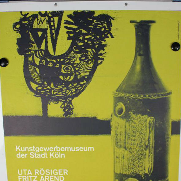 VTG Gilbert Portanier Keramik altes Plakat Ausstellung 1963 Köln 60er Jahre
