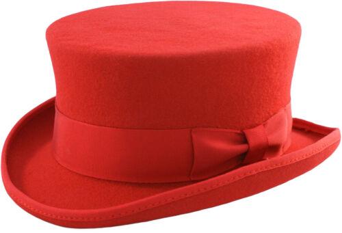 Boxed RED HAND MADE JUNIOR TOP HAT 100/% WOOL Felt Satin Wedding