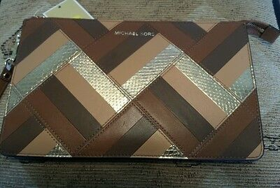 3c62926c43a2 MICHAEL Michael Kors Daniela Large Marquetry Luggage Patchwork Leather  Wristlet