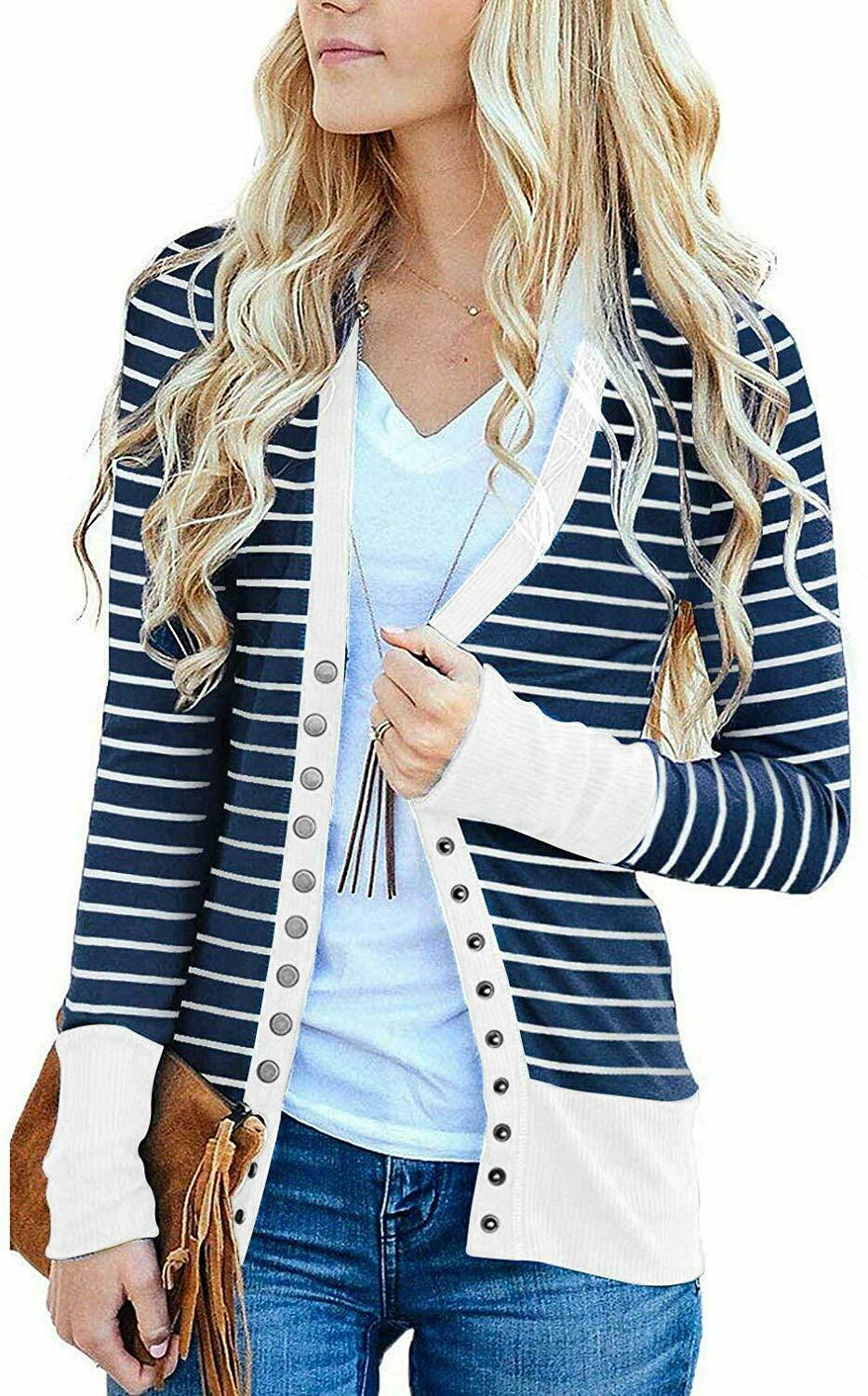RICHKOKO Women Long Sleeve V Neck Pockets Stripes Button Longline Trench Coat