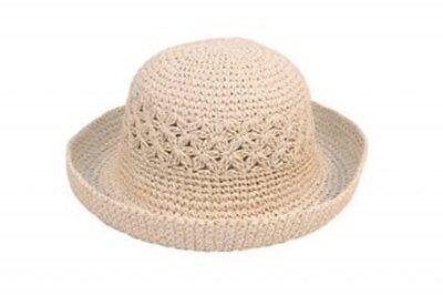 NEW GIRLS STRAW STYLE CRUSHABLE SUMMER SUN HAT TURN UP BRIM 3 COLOURS 2 SIZES
