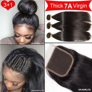 7A-Brazilian-Indian-Virgin-Human-Hair-Weave-3-Bundles-With-Lace-Closure-UK-F296