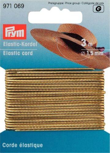 € 0,80 m Prym Elastic Cord gold 3m//Ø1,5mm Hat rubber Diy rubber 971069 Beads