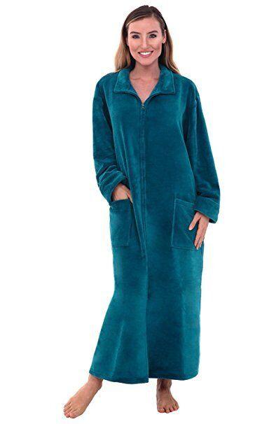 Women's Green Fleece Bathrobe Small Medium Zipper Spa Robe Zip Front S M