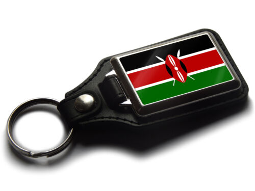 Kenya Flag National Colours Quality Leather and Chrome Keyring