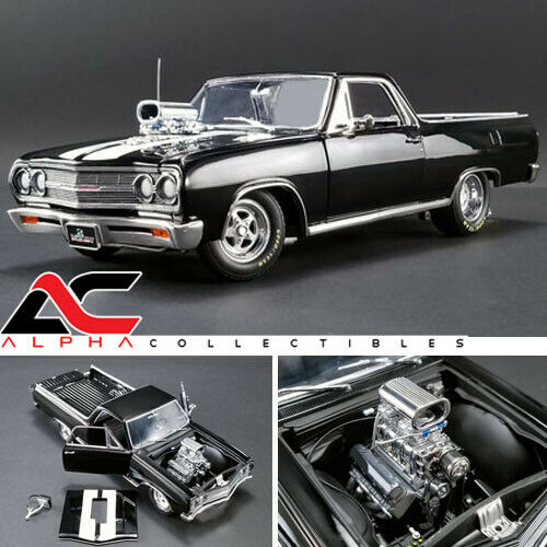 Acme A1805409 1 18 1965 Chevrolet el camino  arrastrar proscrito  nero Ltd Ed