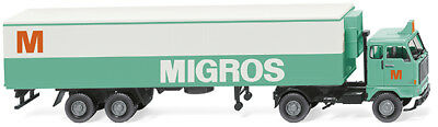 "Nh 02/2018 Wiking 054301 Cold Trailer Box "" Migros "" 1:87 h0 volvo F89"