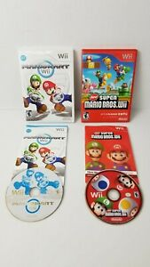 Lot-Nintendo-Wii-Video-Games-New-Super-Mario-Brothers-Bros-amp-Mario-Kart-Complete