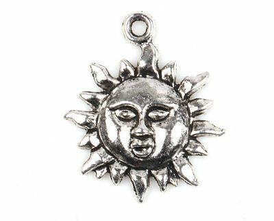 10/20/50/100 PCS Sun Head Tibetan Silver Charms Pendants Crafts Jewelry DIY