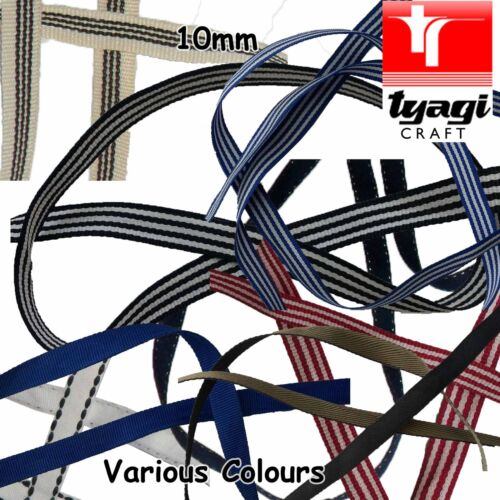 10mm Poly-Cotton ID Tag Strap Tape Webbing Lanyard Stitch Dressmaking Mobile