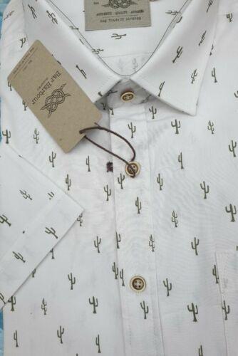 BAR HARBOUR Cactus Bianco Stampa Manica Corta Camicia 2XL3XL4XL5XL