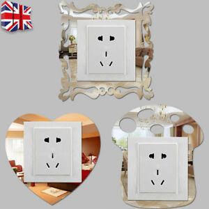 4pcs Silver Mirror Flower Light Switch Surround Wall Stickers Cover Frame Decor