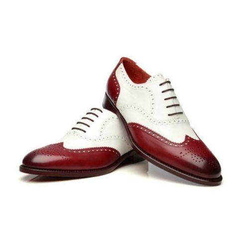 Hecho a mano para hombres Cuero Genuino Rojo Y blancoo Zapatos Oxford Brogue acordonados formal
