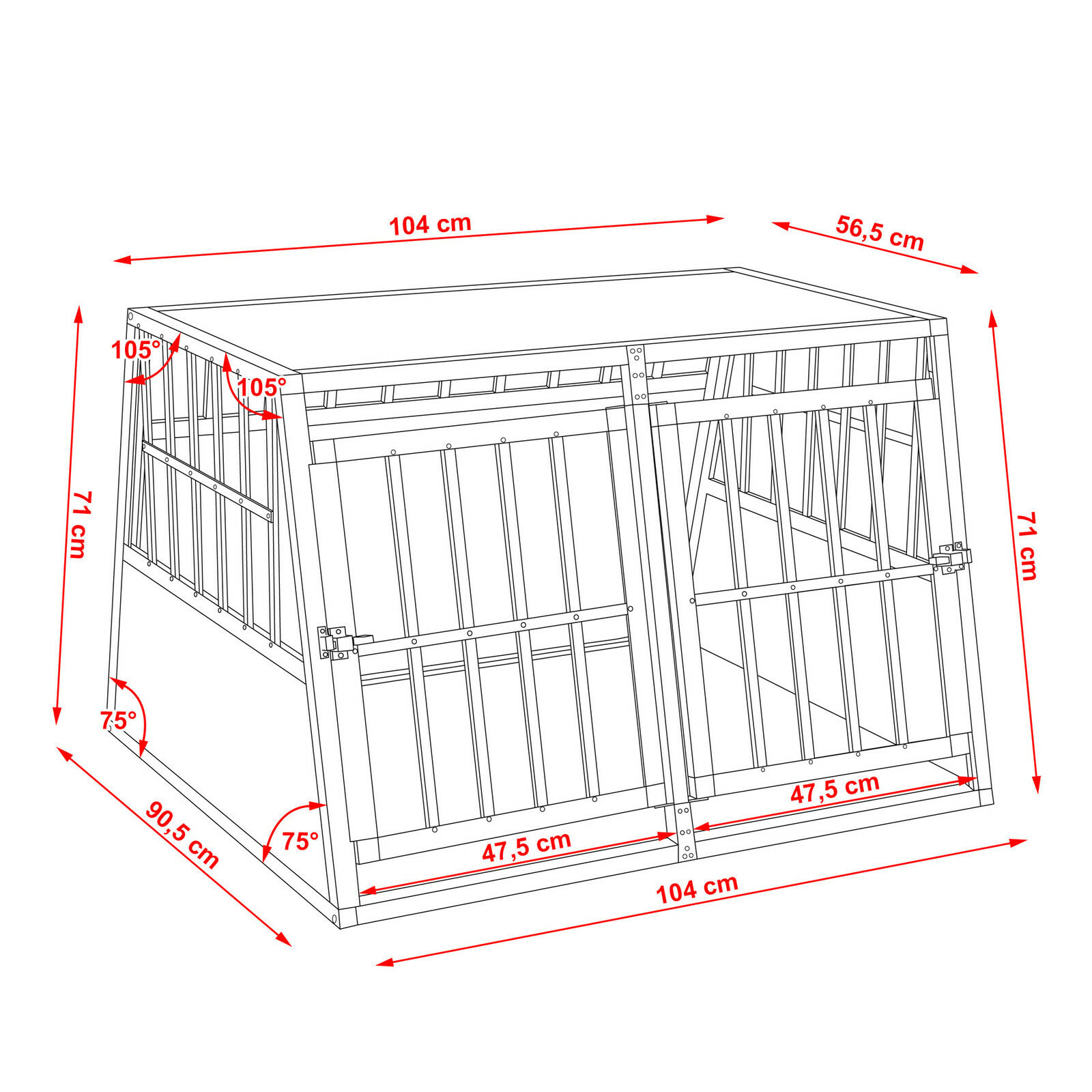 XXL Transportín doble con con con parosso divisoria para perros aluminio trapezoidal 7a6a59