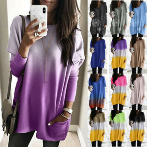 Women-Plus-Long-Sleeve-Pullover-T-shirt-Casual-Tunic-Dress-Tops-Jumper-Blouse