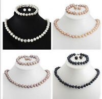 Genuine 8-9mm Freshwater Cultured Pearl Necklace Bracelet & Earrings Set AA