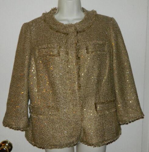 4 Størrelse Sequin Cocktail 451002492773 Women 1 Nwt New 159 Gold Sleeve 3 Tweed Jakke Chico 0vUBnwx1