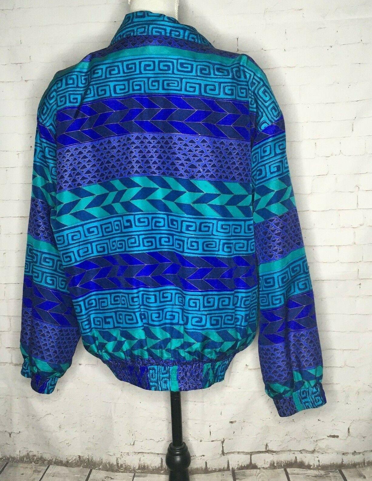 Fuda International Silk Jacket Blue Green Geometr… - image 3