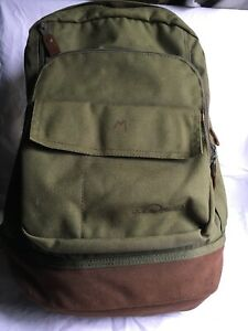 558597eb0a1 Details about Vintage LL Bean Nylon Canvas / Leather Backpack Olive EUC