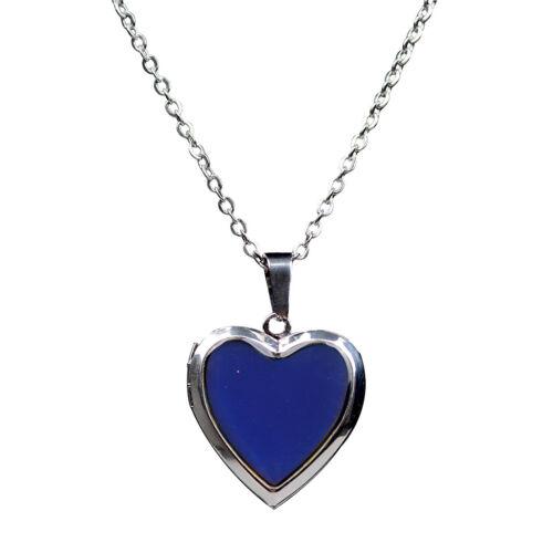 Blesiya 2pcs Color Change Mood Emotion Heart Photo Picture Frame Necklace