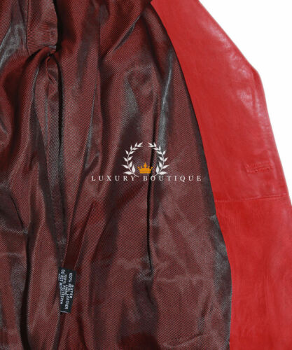 Valentina Red Ladies Designer Military Real Lambskin Leather Corset Tail Coat