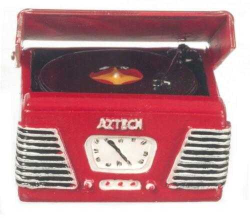 Dolls House 1950/'s Record Player Turntable in Red Miniature Music Room Accessory