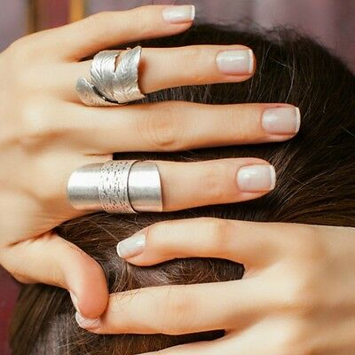 Wrap Stacking Boho Antique Silver Statement Fashion Long Unique Stackable Ring