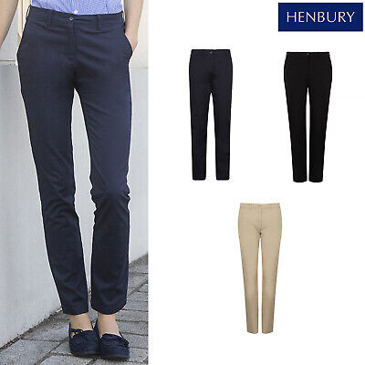 Henbury Women's Stretch Chinos Pants H651 - Cotton Formal Workwear Trousers