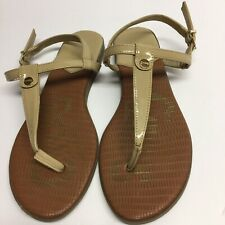 f47589242 Circus by Sam Edelman Cayden Patent Leather T-Strap Sandals Size 7.5 Tan  Flats