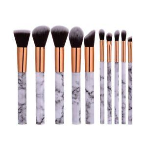 10Pcs-Pro-Pinceaux-De-Maquillage-Cosmetique-Brush-Brosse-Fondation-Marbre-Poudre