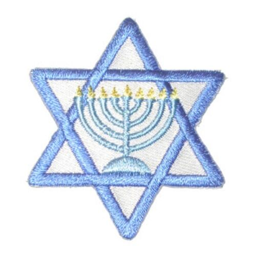 Star of David with Menorah Iron On Applique x 1