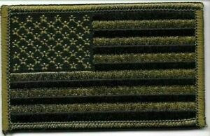 Olive Green Black US Flag Patch VELCRO BRAND Hook Side