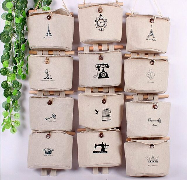 Multi-function Hanging Zakka 8 Patterns Semicircle Pocket Organizer Storage Bags