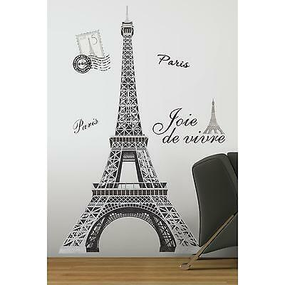 EIFFEL TOWER MURAL wall stickers 13 BIG decals PARIS room decor stickups 55""