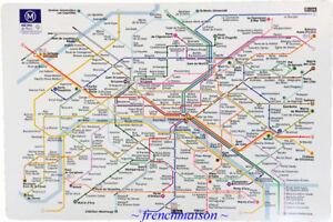 6-Paris-French-Art-PARIS-RATP-SUBWAY-MAP-Louvre-Eiffel-Tower-Opera-Placemat-New