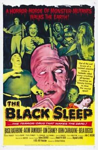 1956 The Black Sleep Basil Rathbone Cult Horror movie poster 24x36 inches