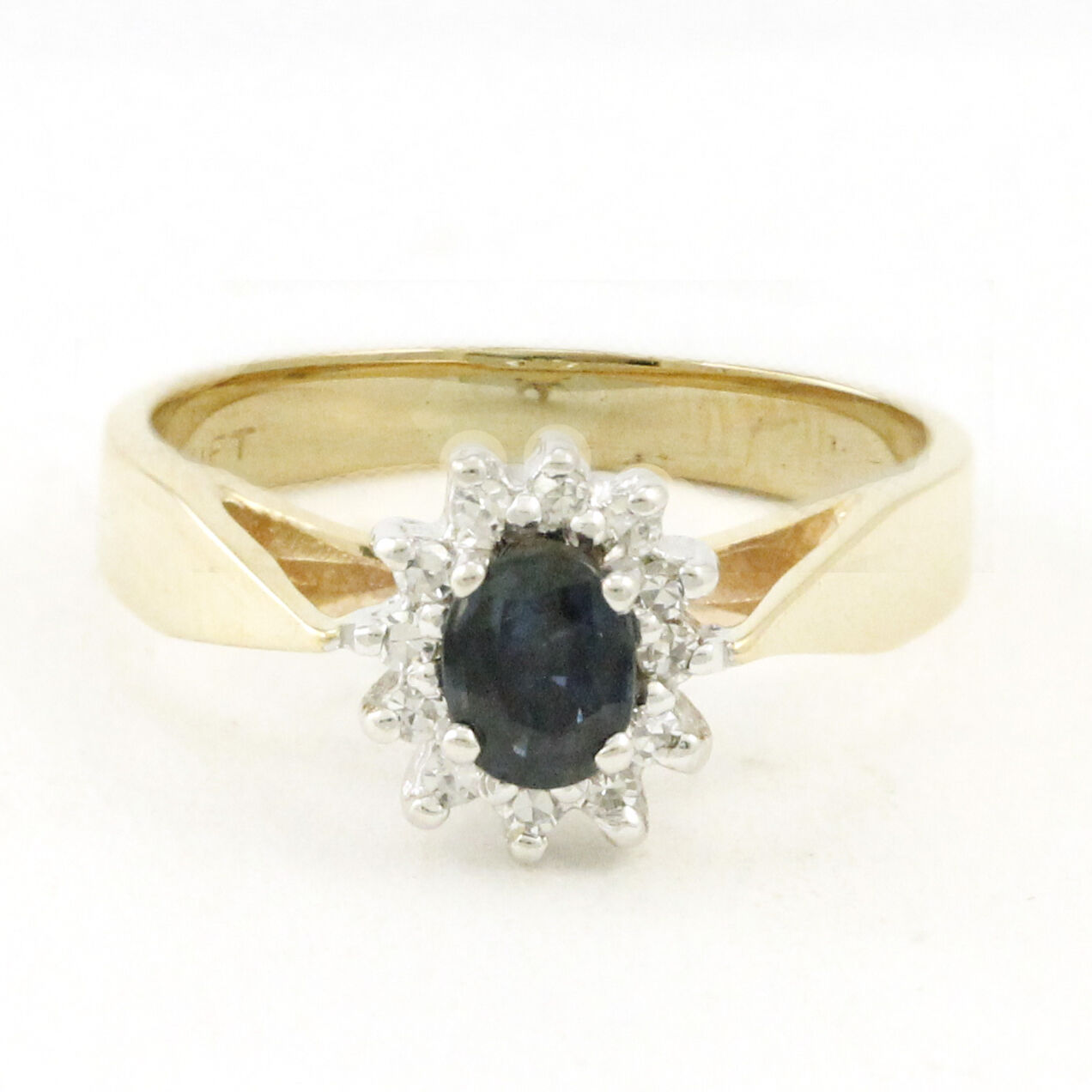 14k Yellow gold Sapphire Diamond Ring (estate, 0.12ct tdw, 1 stones) 3802