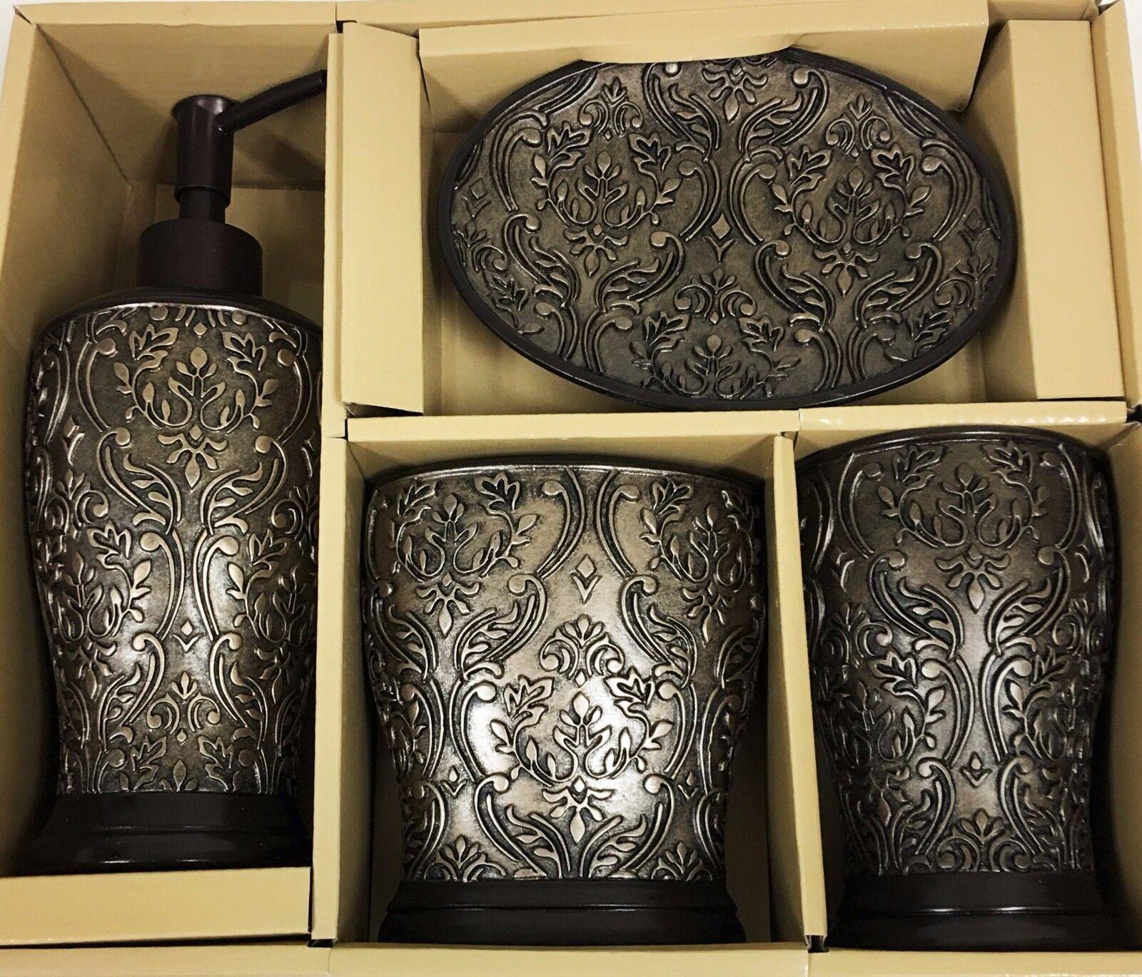 Neu 4 Stück Set aus Rotguss + Bronze Braun Braun Braun 3D Vintage Design Harz Seifenspender e7b7f8