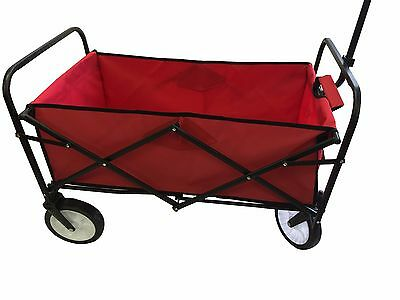 RED COLLAPSIBLE FOLDING WAGON UTILITY GARDEN CART SHOPPING BEACH TOY SPORTS TOP