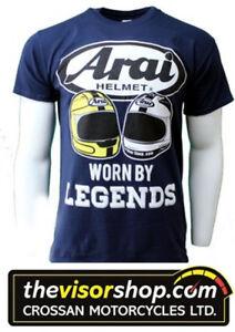 Arai-GILDAN-HEAVY-COTTON-T-Shirt-NAVY-Joey-amp-Robert-Dunlop-Legends-M-Medium