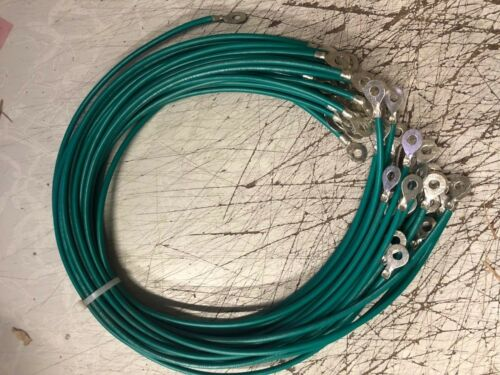 """Auto 10 AWG Ground Jumper Wire Cable W// Green Jacket Solar 20 pack of 24/"""" Inch"""