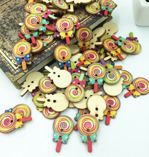 DIY Lollipop Wooden Buttons 2 Holes Sewing and Scrapbook Decorative craft 33mm